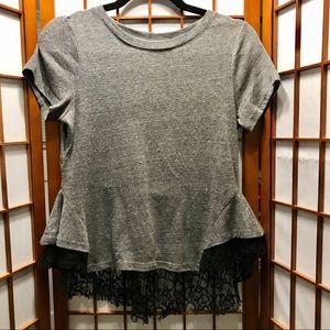 Free People Grey Top w/ Black Lace Peplum